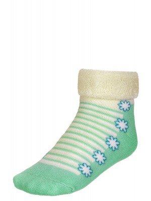 Носки внутри махровые с отворотом SOF-TIKI (074) кремовый-светло-зеленый