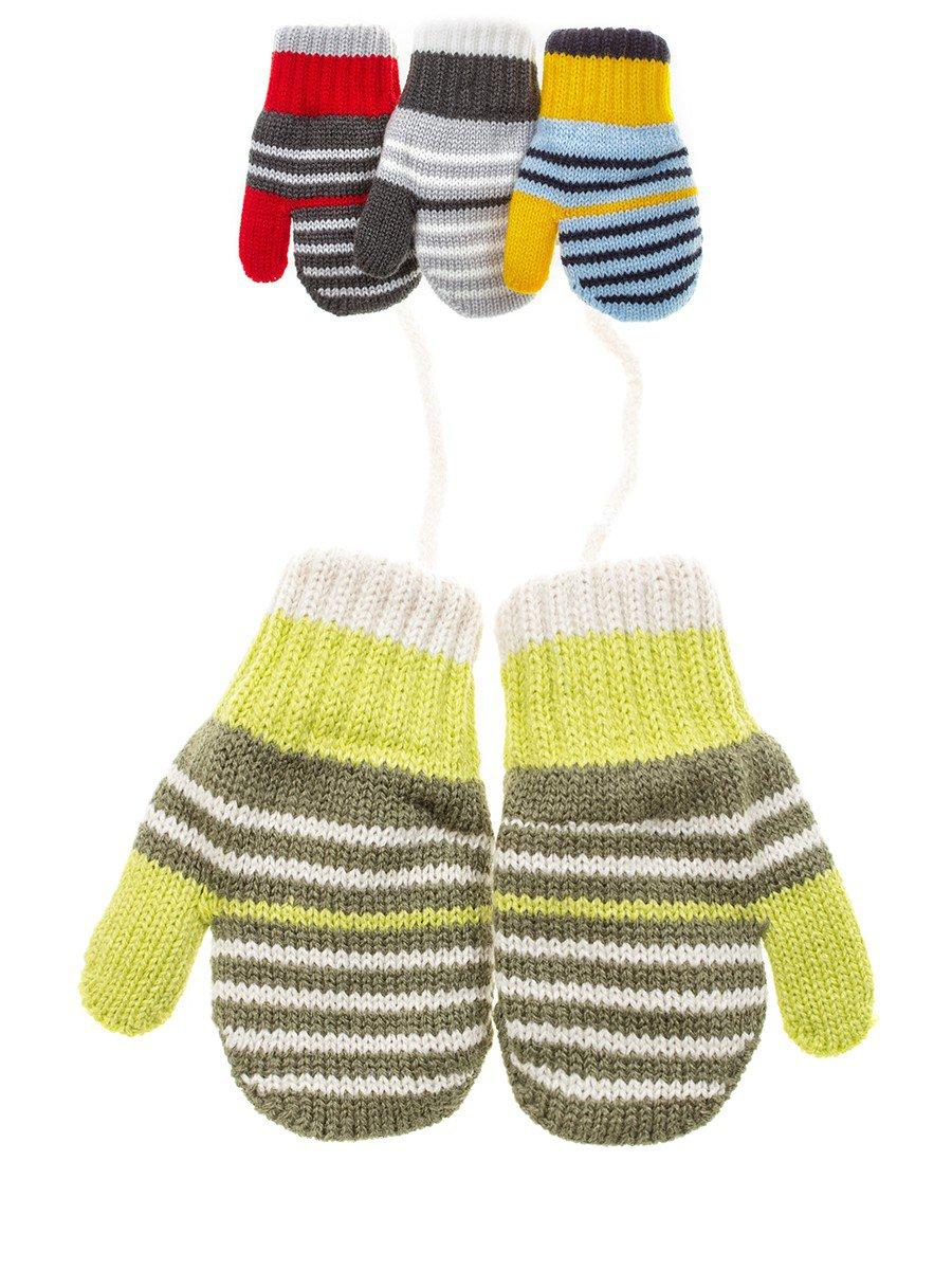 Варежки двойной вязки детские, цвет: мультиколор