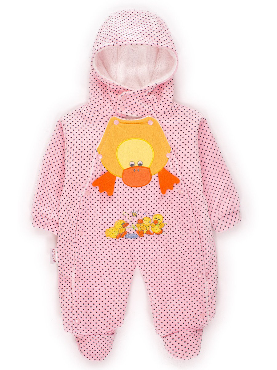 Комбинезон детский велюровый на махровой подкладке, цвет: светло-розовый