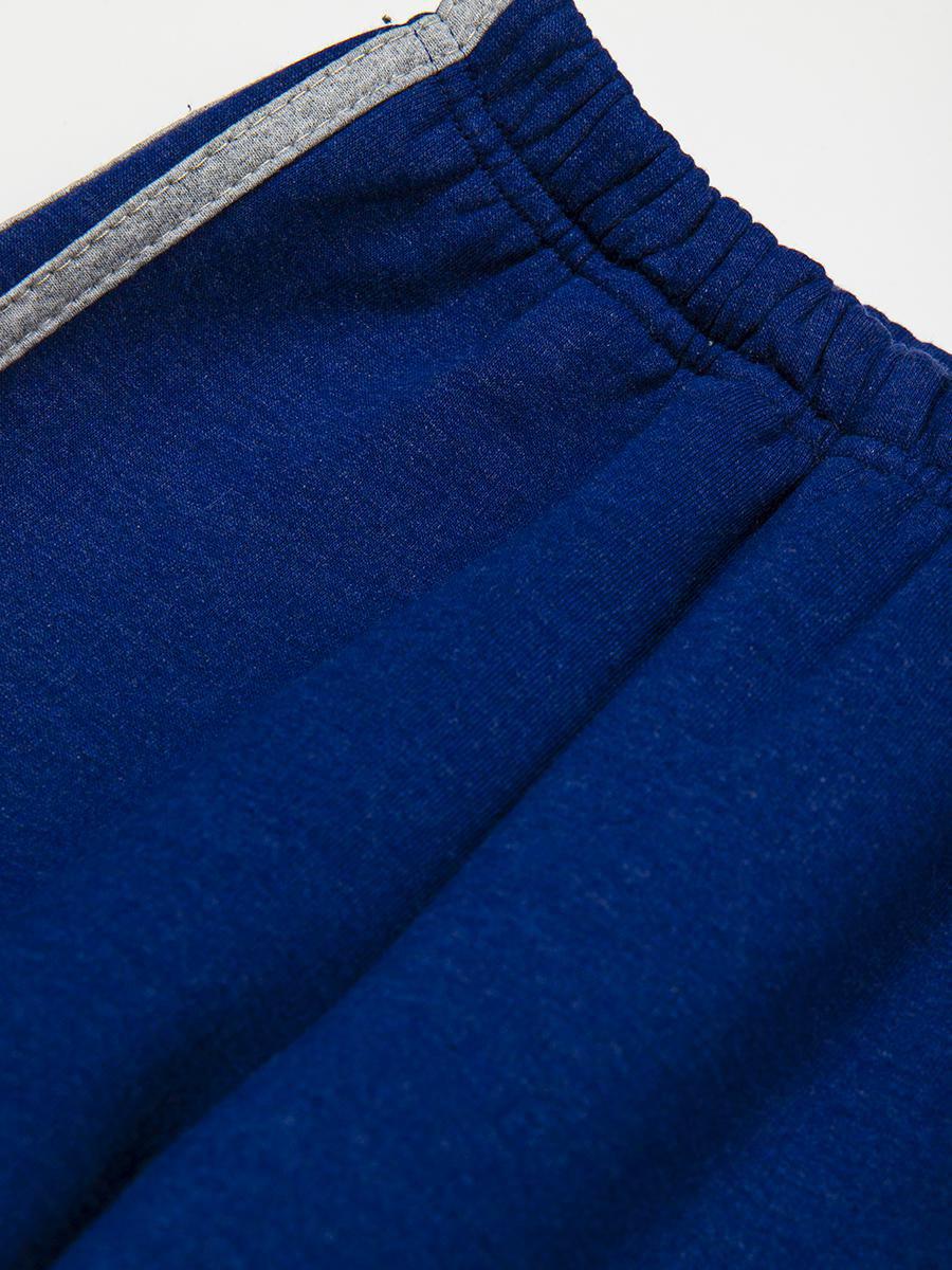 Брюки спортивные с начесом, цвет: темно-синий