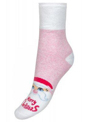 Носки детские новогодние с люрексом 301 светло-розовый