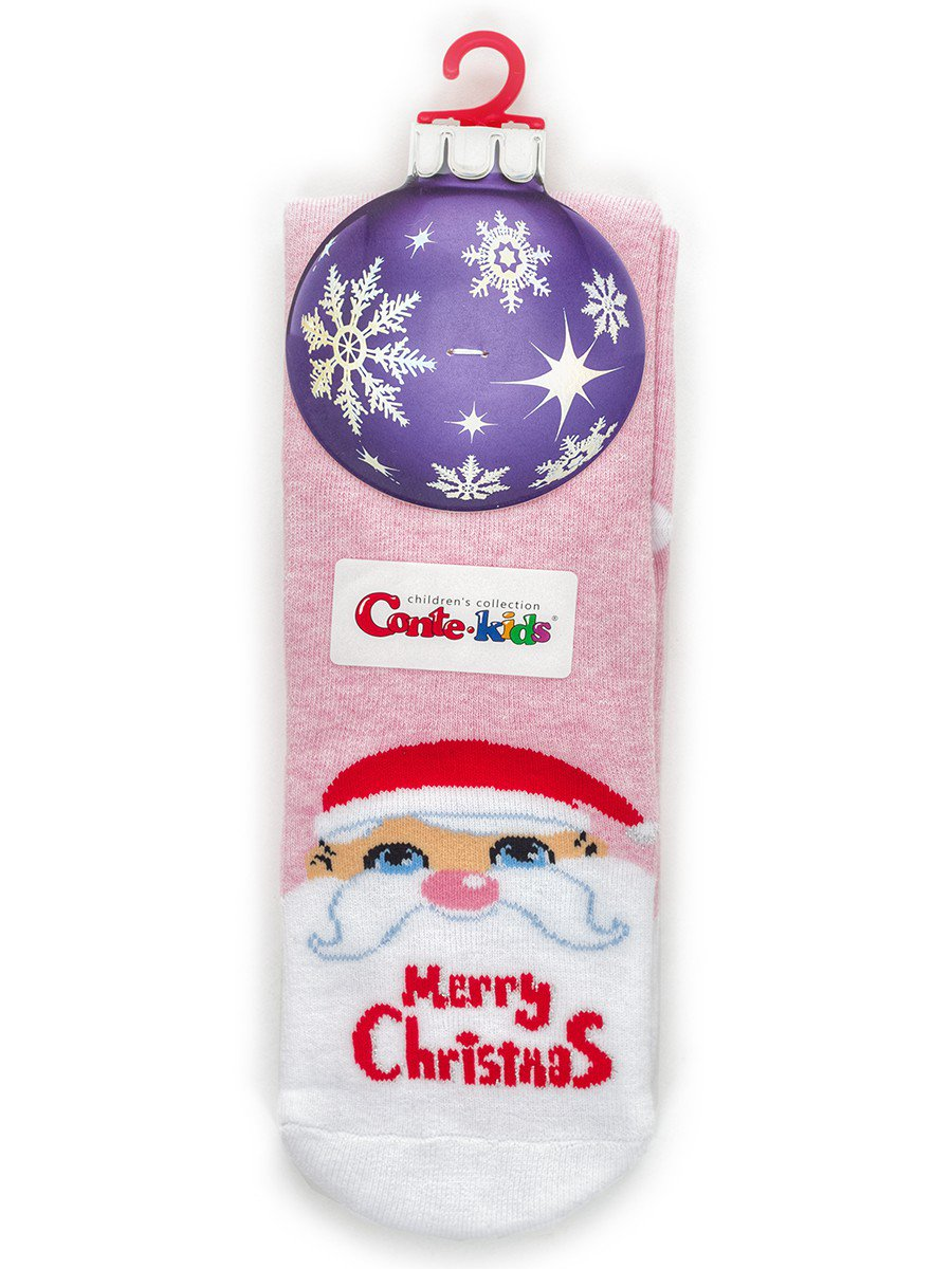 Носки детские новогодние с люрексом 301 светло-розовый, цвет: светло-розовый