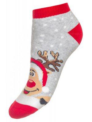 Носки детские новогодние короткие 303 светло-серый