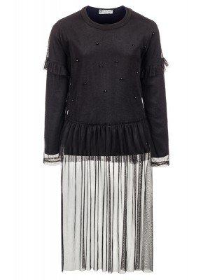 Комплект для девочки:блузка и туника из сетки со шлейфом.Декор-бусины.