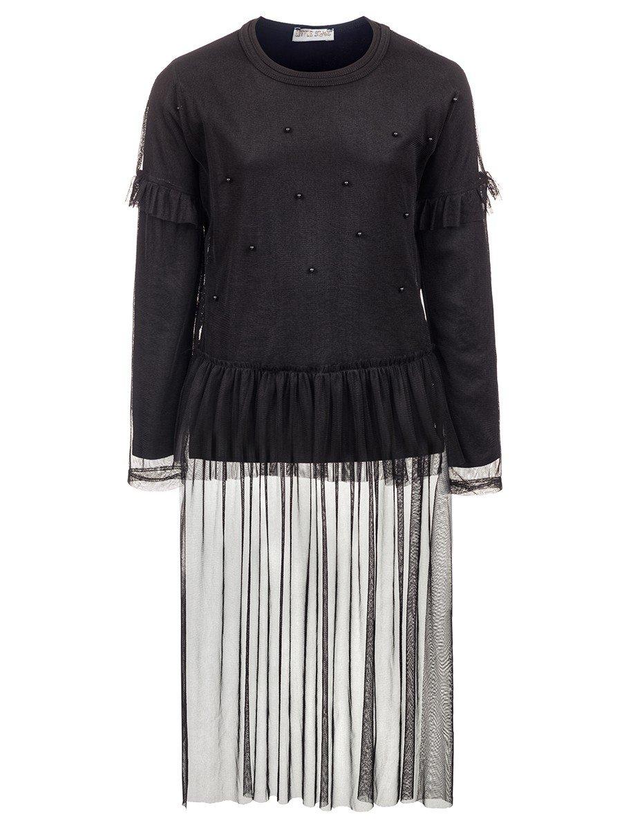 Комплект для девочки:блузка и туника из сетки со шлейфом.Декор-бусины., цвет: черный