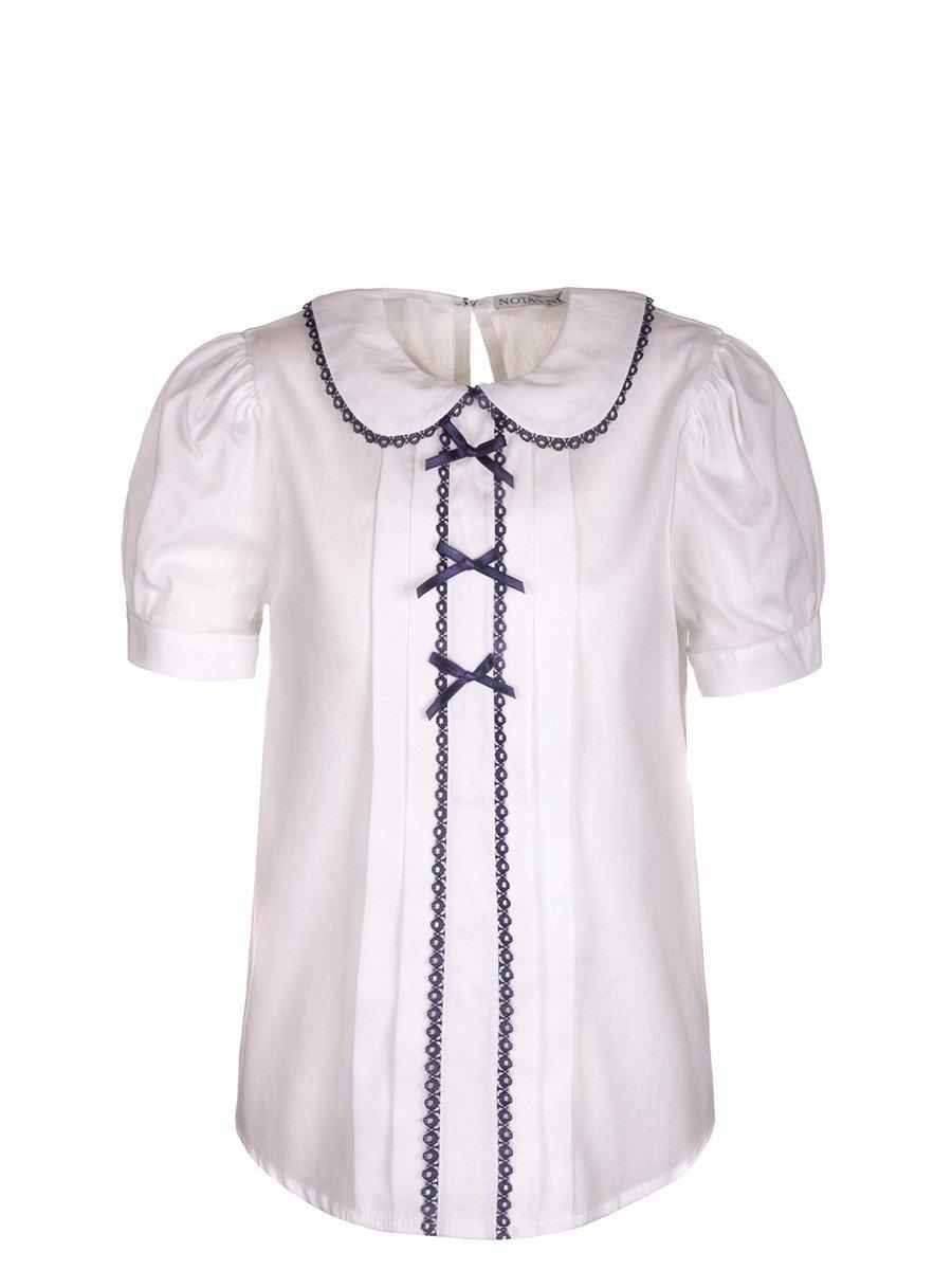 Блузка текстильная для девочки младшего школьного возраста, цвет: белый