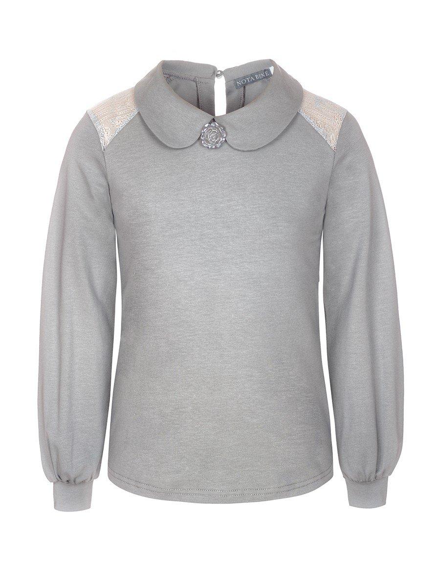 Блузка для девочки трикотажная, цвет: серый