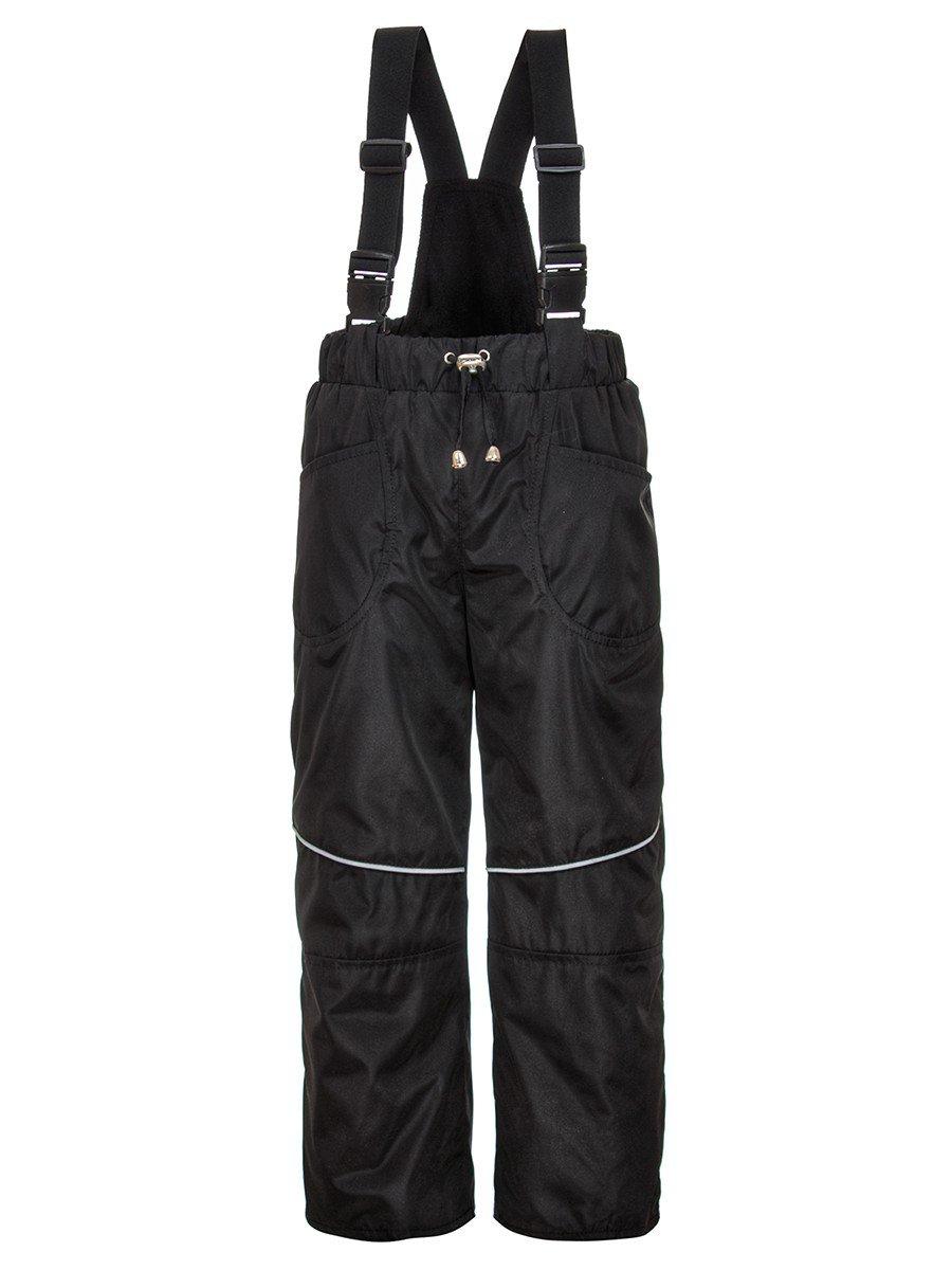 Брюки со спинкой из плащевой ткани на подкладке из флиса (унисекс), цвет: черный