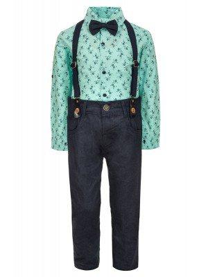Комплект для мальчика:брюки с подтяжками,рубашка с бабочкой
