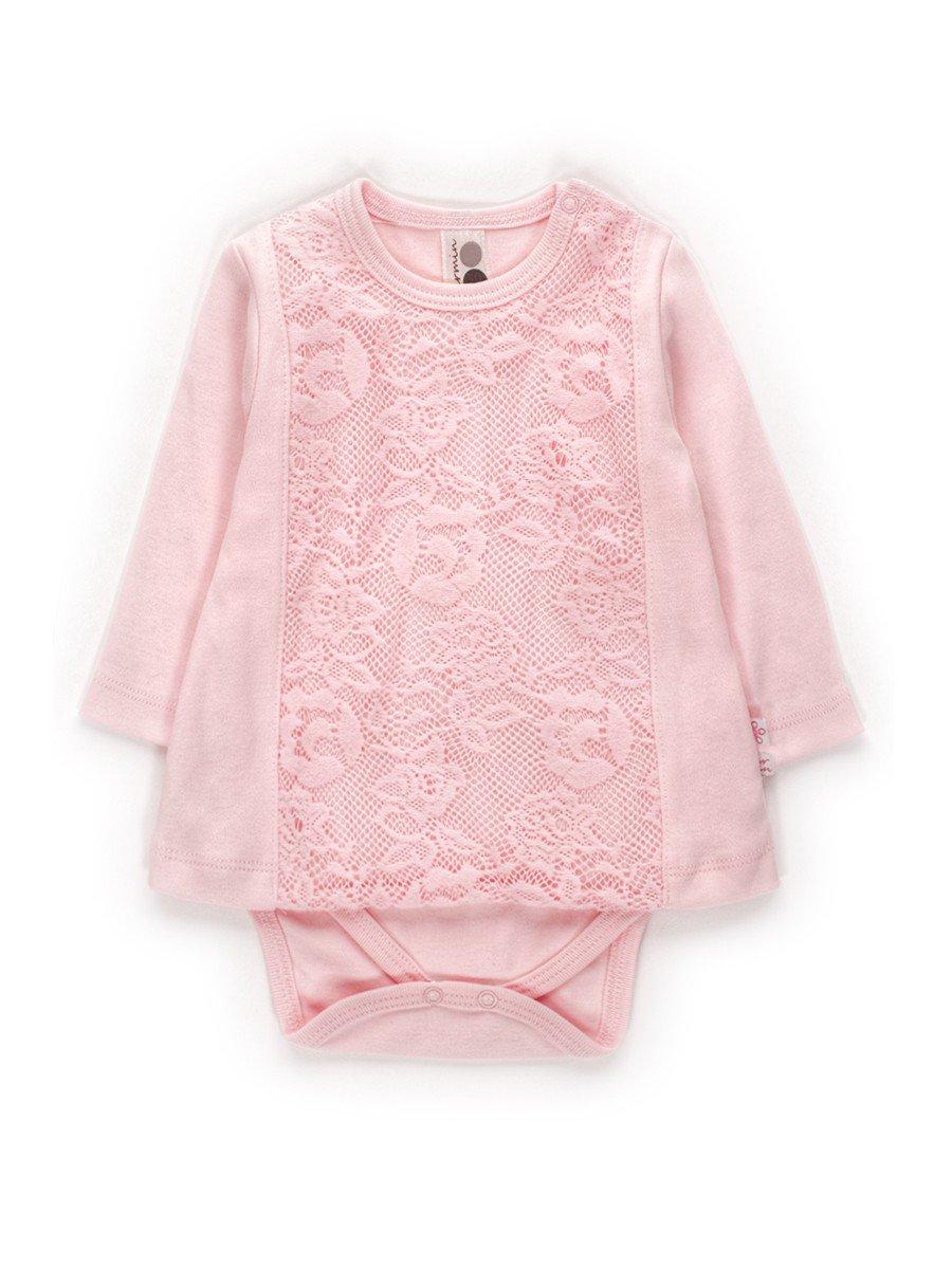 Боди с гипюром,для девочки, цвет: розовый