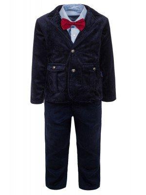 Комплект для мальчика:брюки,рубашка с бабочкой и велюровый пиджак