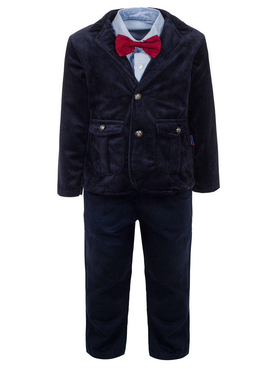 Комплект для мальчика:брюки,рубашка с бабочкой и велюровый пиджак, цвет: темно-синий