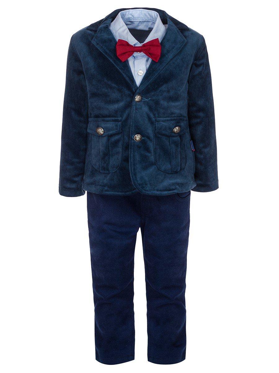 Комплект для мальчика:брюки,рубашка с бабочкой и велюровый пиджак, цвет: деним