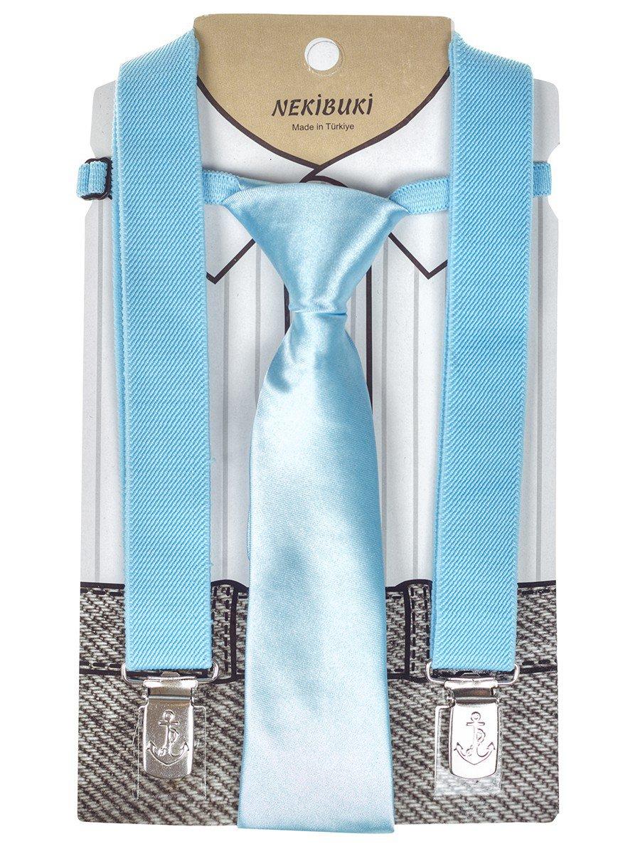 Набор подтяжки и галстук: длина галстука 26 см,подтяжки по спинке 45 см max, цвет: голубой