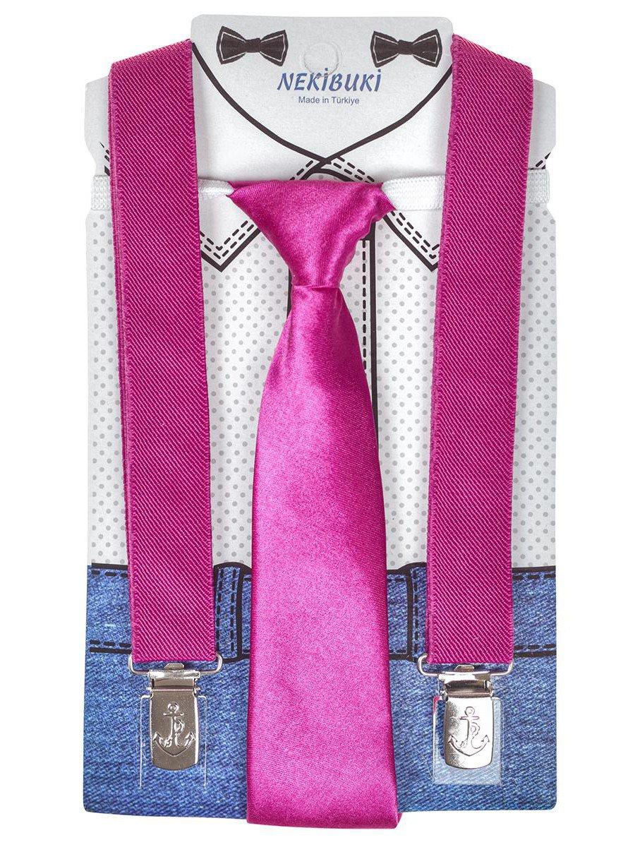 Набор подтяжки и галстук: длина галстука 26 см,подтяжки по спинке 45 см max, цвет: фуксия