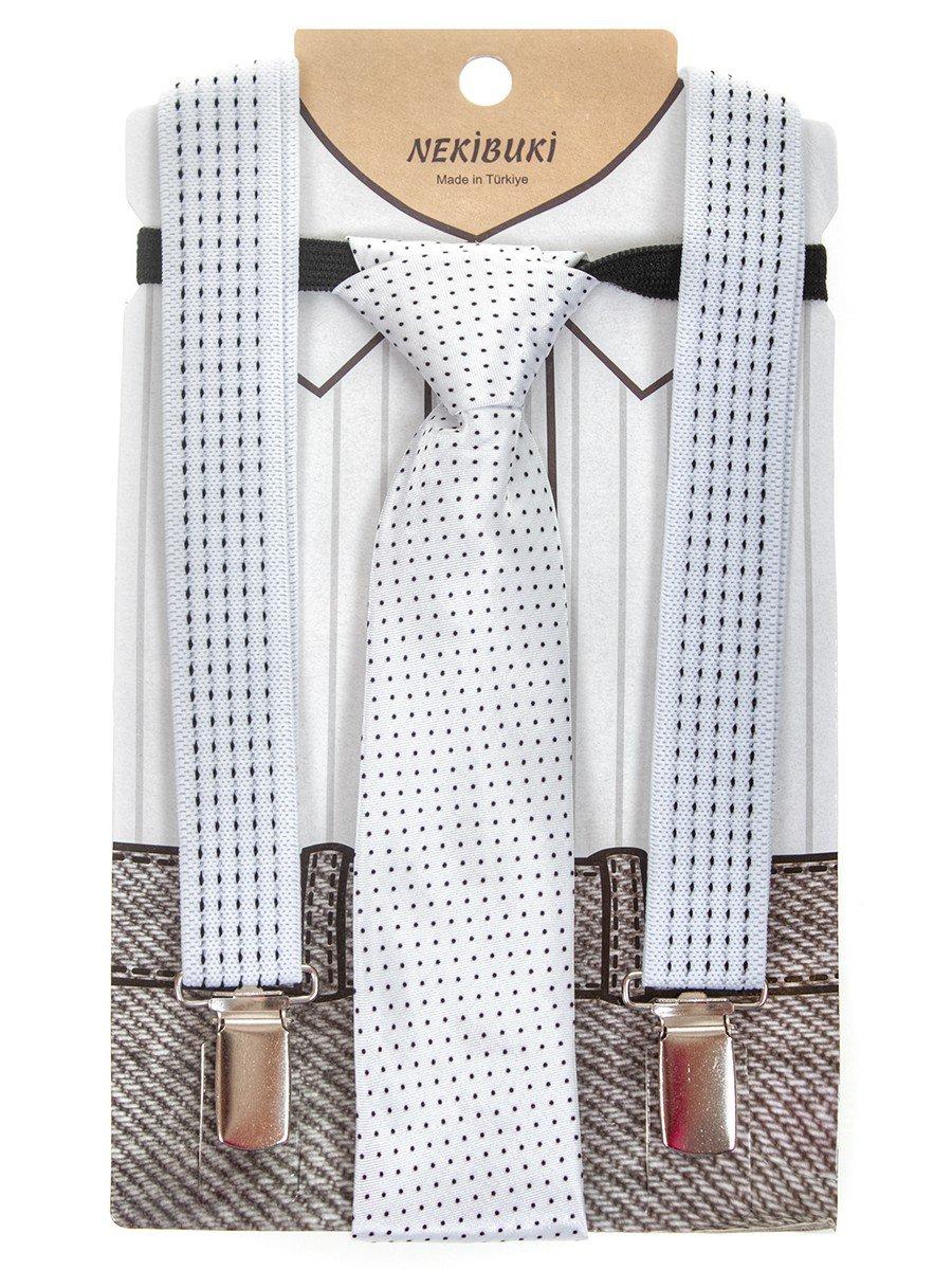 Набор подтяжки и галстук: длина галстука 26 см,подтяжки по спинке 45 см max, цвет: белый