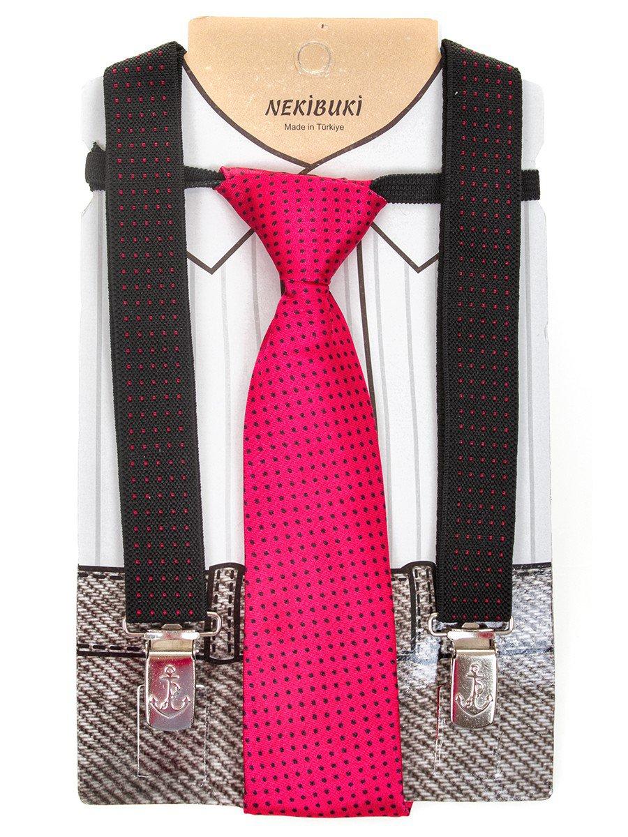 Набор подтяжки и галстук: длина галстука 26 см,подтяжки по спинке 45 см max, цвет: розовый