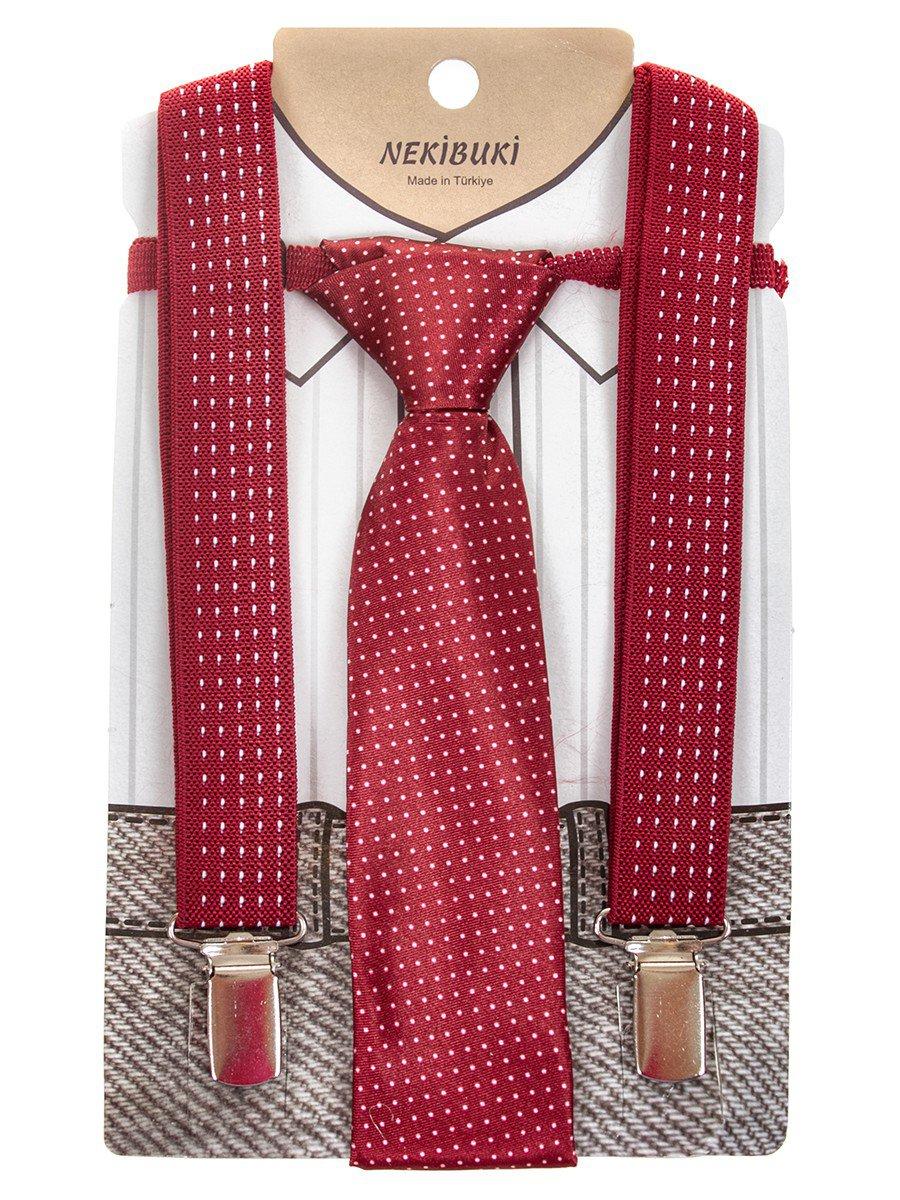 Набор подтяжки и галстук: длина галстука 26 см,подтяжки по спинке 45 см max, цвет: бордовый