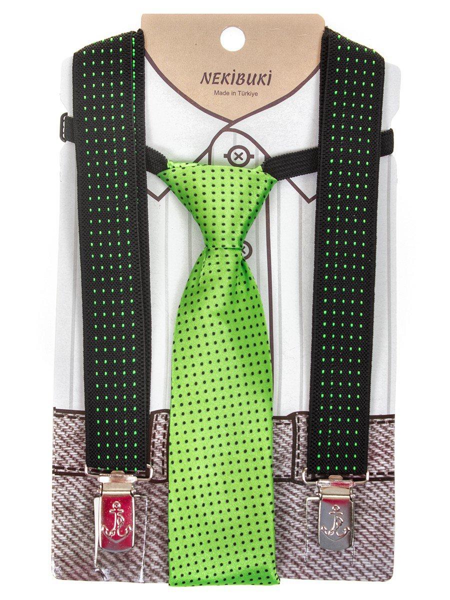 Набор подтяжки и галстук: длина галстука 26 см,подтяжки по спинке 45 см max, цвет: зеленый