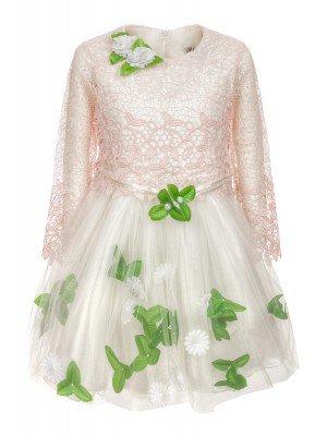 Платье для девочки:верх-гипюровый,низ-из сетки,на подкладке.Декор-брошь.