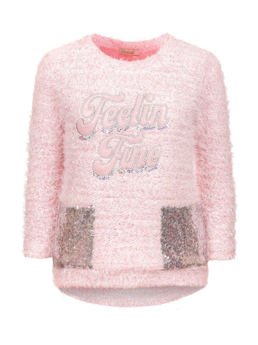 Комплект для девочки;лосины из велюра и туника-вязаный трикотаж.Декор-пайетки., цвет: светло-розовый