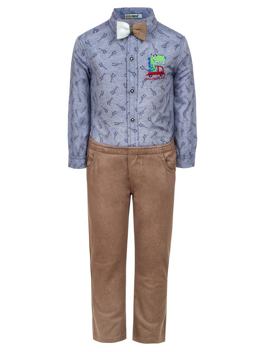 Комплект для мальчика:брюки и рубашка с бабочкой, цвет: бежевый