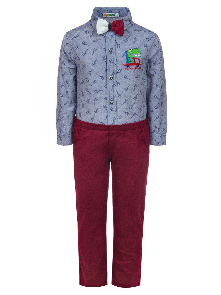 Комплект для мальчика:брюки и рубашка с бабочкой, цвет: бордовый