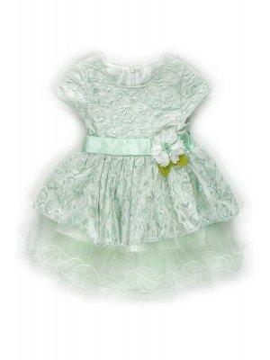 Платье с атласным поясом,низ из сетки,на подкладке