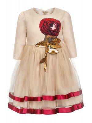 Платье для девочки,низ-из сетки,декор-аппликация из пайеток