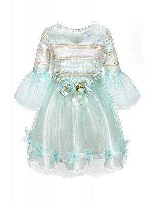 Платье для девочки:низ из сетки,на подкладке.Декор-атласный пояс и брошь