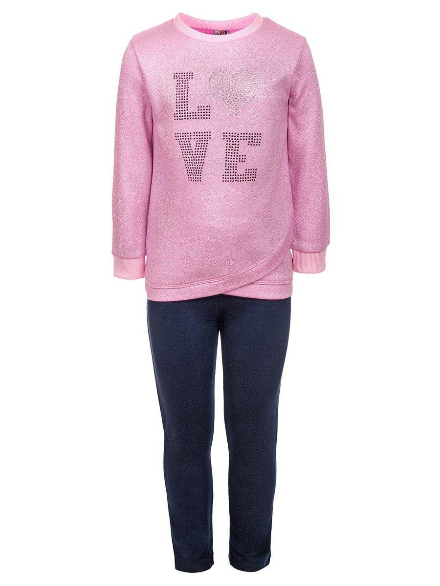 Комплект с люрексом для девочки:толстовка и лосины, цвет: розовый