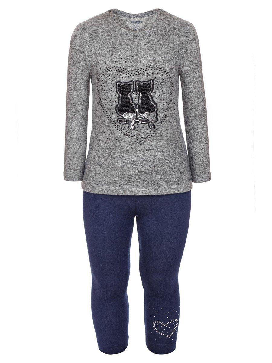 Комплект для девочки: туника с ворсом и лосины, цвет: серый меланж