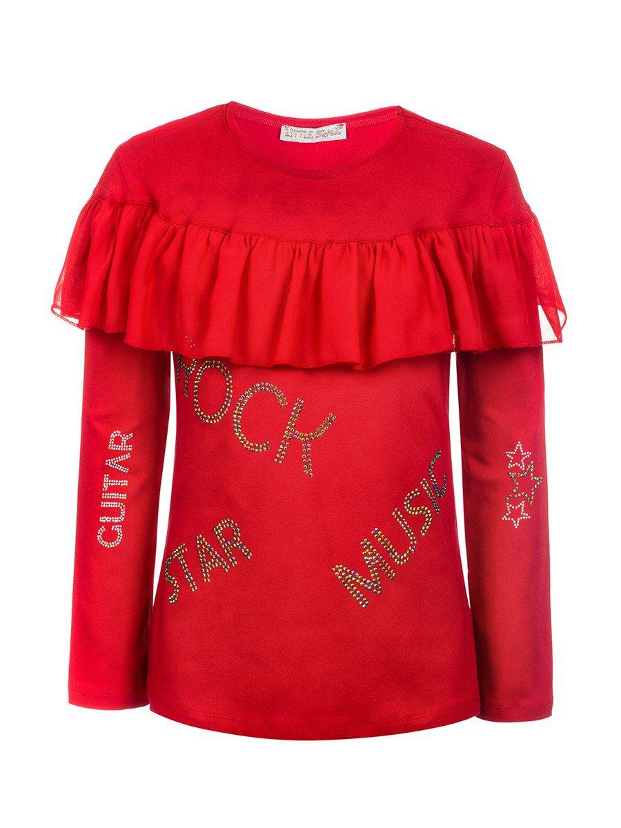 Блузка для девочки,отделка шифон и стразы, цвет: красный
