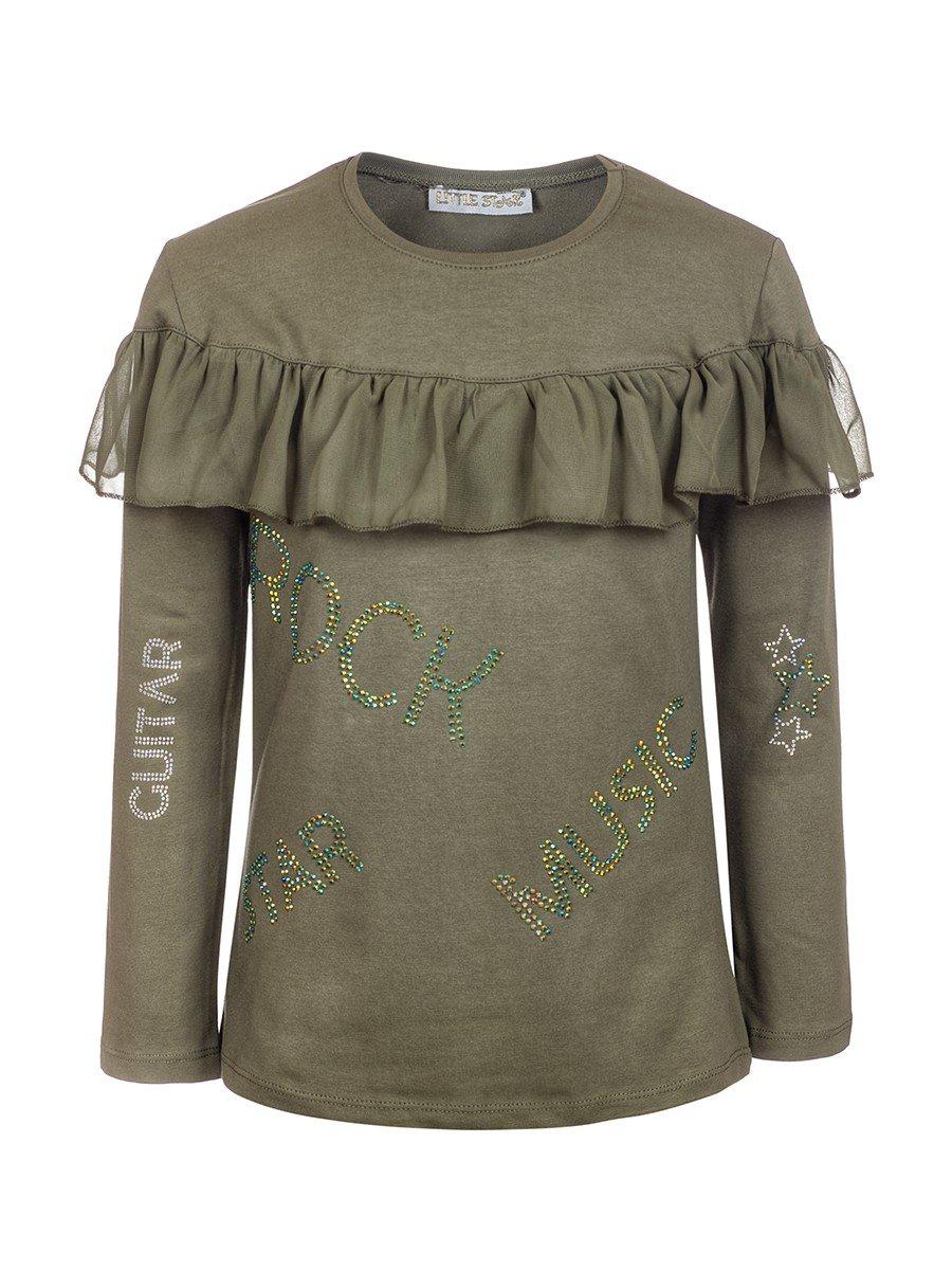 Блузка для девочки,отделка шифон и стразы, цвет: оливковый