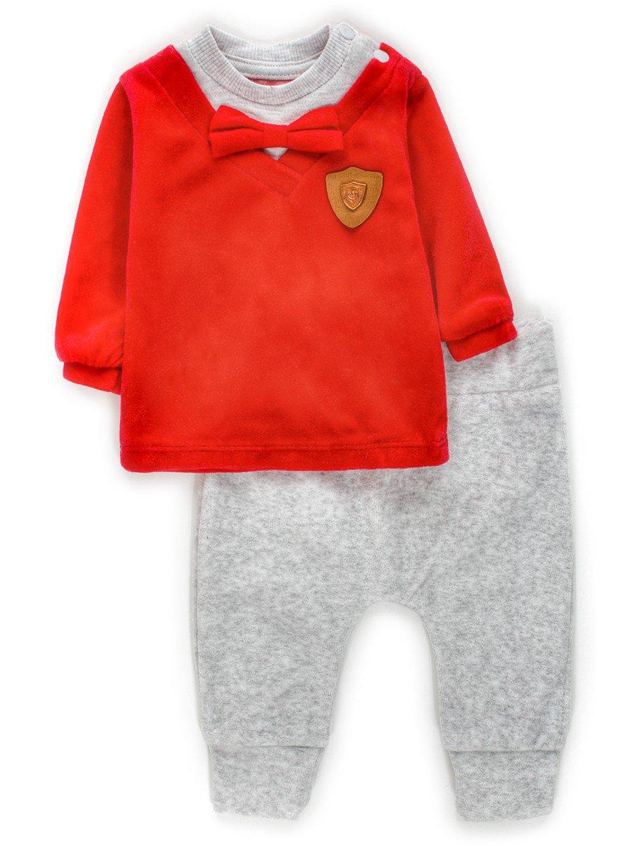 Комплект велюровый для мальчика:кофточка и штанишки, цвет: красный