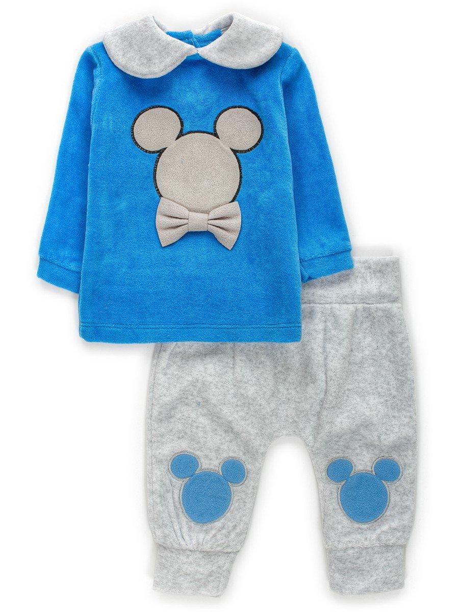 Комплект велюровый для мальчика:кофточка и штанишки, цвет: голубой