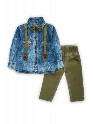 Комплект для мальчика:брюки джинсовые,рубашка с бабочкой