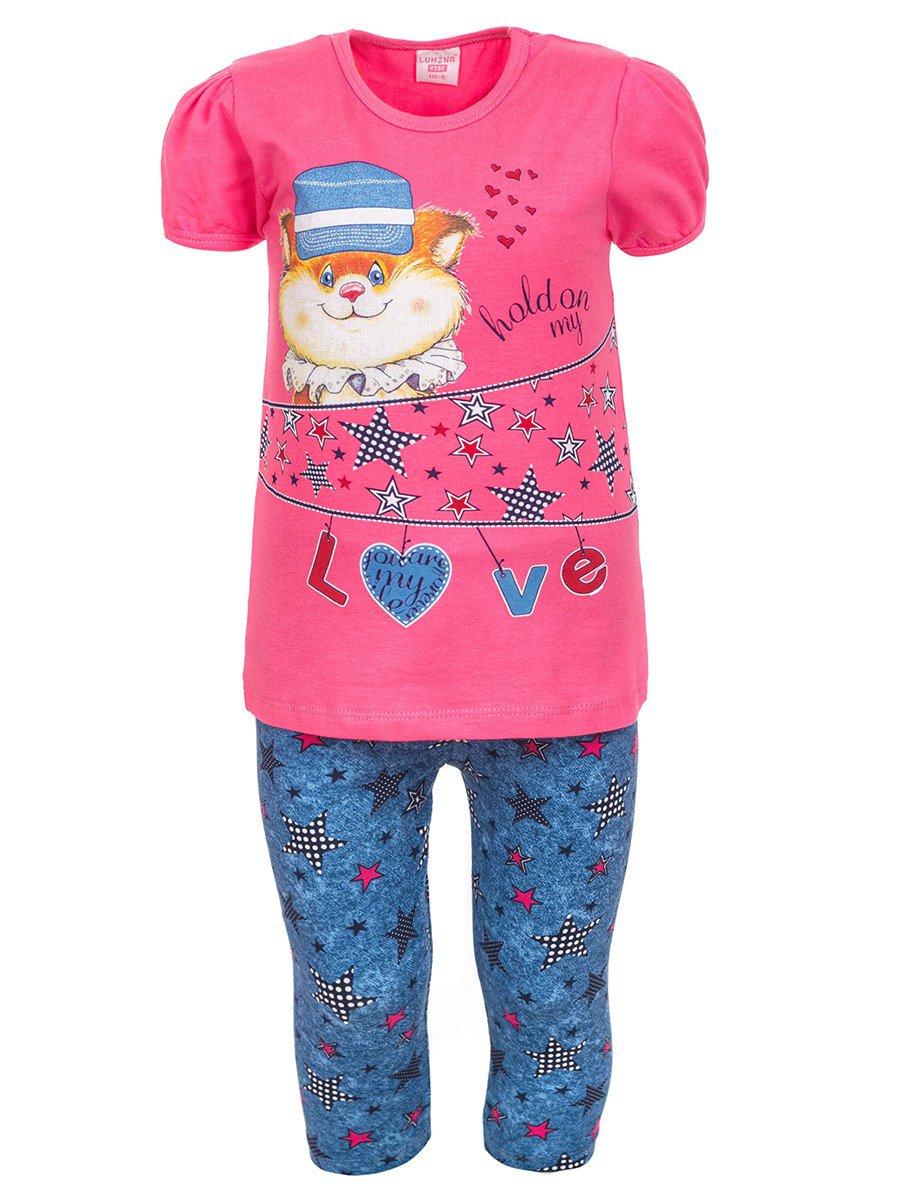 Комплект для девочки:футболка и лосины, цвет: розовый