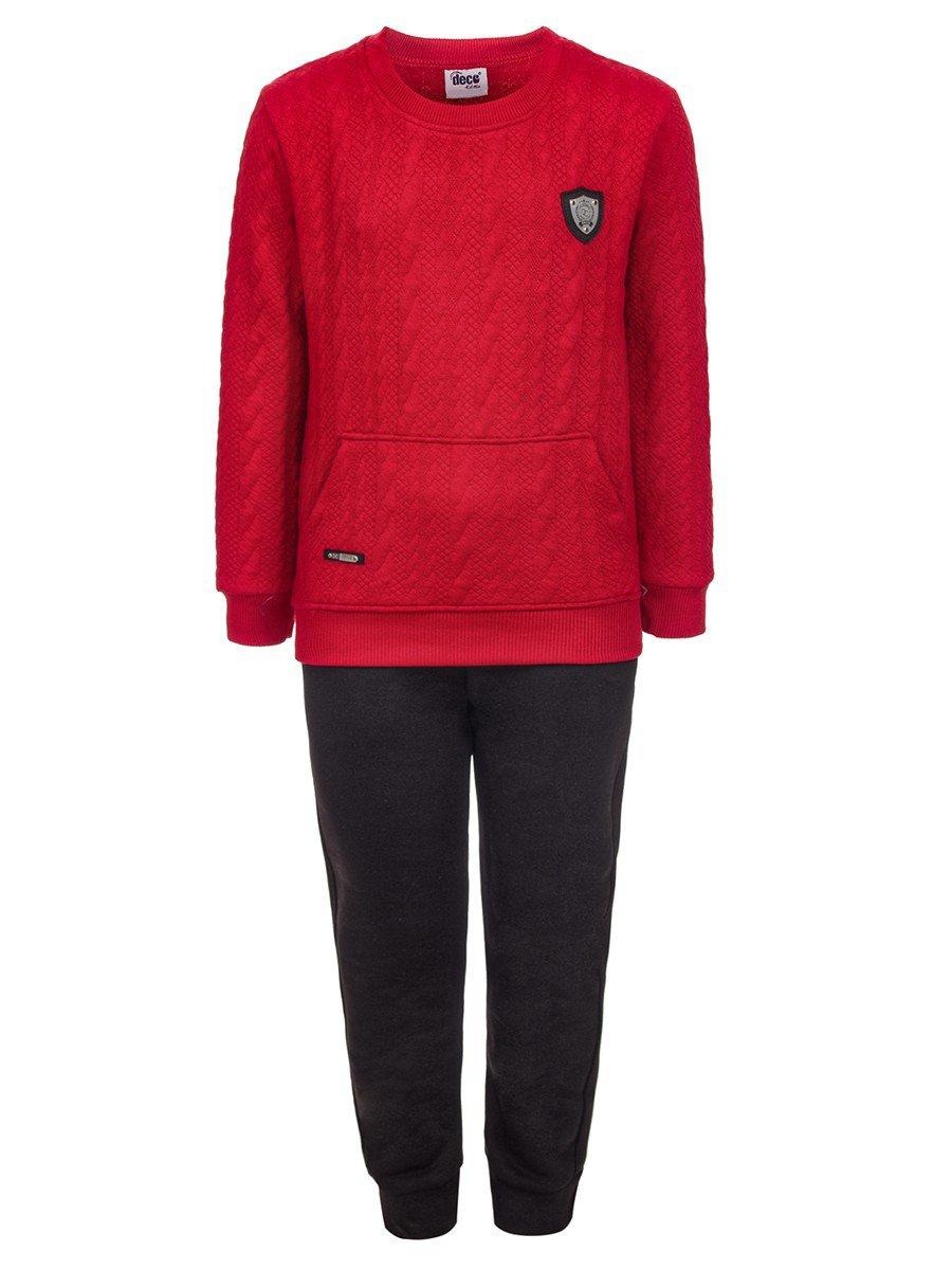 Комплект для мальчика:толстовка и штанишки с начесом, цвет: бордовый