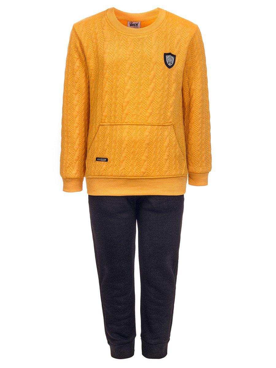 Комплект для мальчика:толстовка и штанишки с начесом, цвет: горчичный