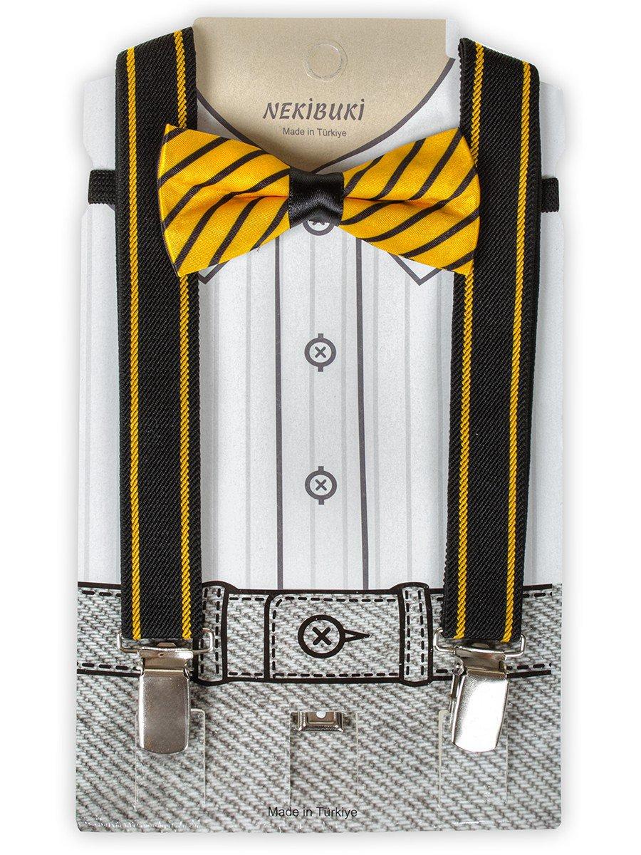 Набор подтяжки и бабочка: длина бабочки 9 см, подтяжки по спинке 45 см max, цвет: желтый
