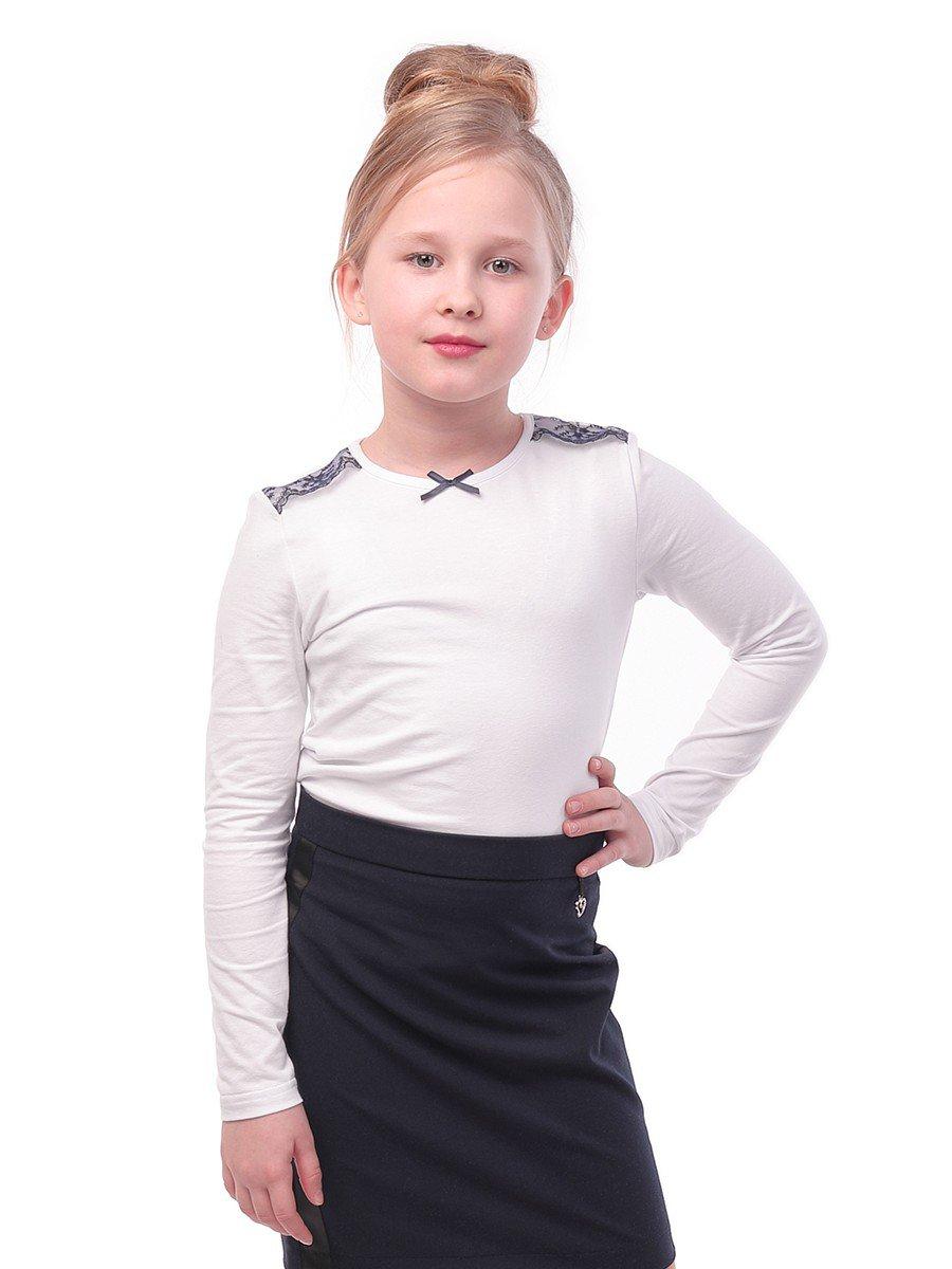 Блуза для девочки с кружевной тесьмой и декоративным бантиком, цвет: белый