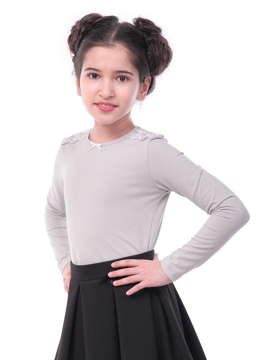 Блуза для девочки с кружевной тесьмой и декоративным бантиком, цвет: серый