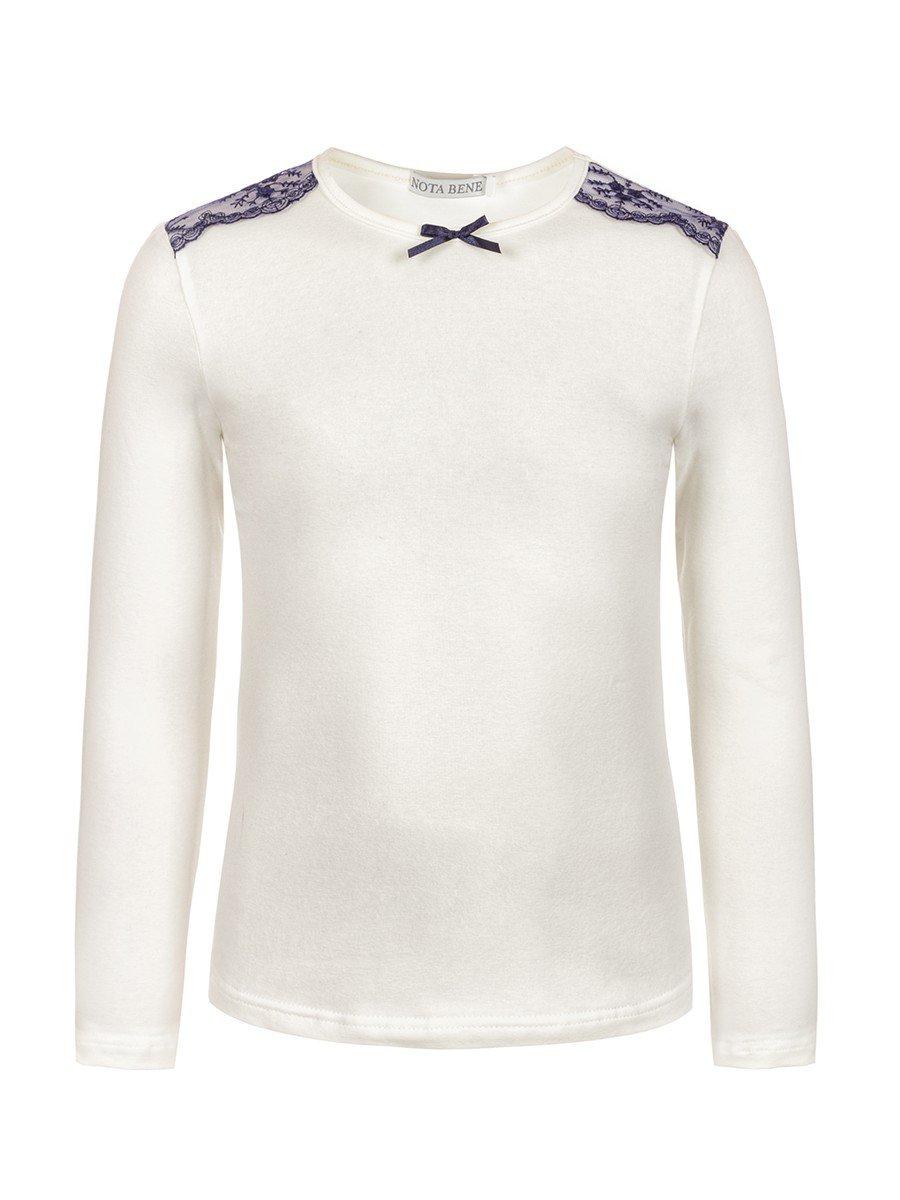 Блуза для девочки с кружевной тесьмой и декоративным бантиком, цвет: молочный