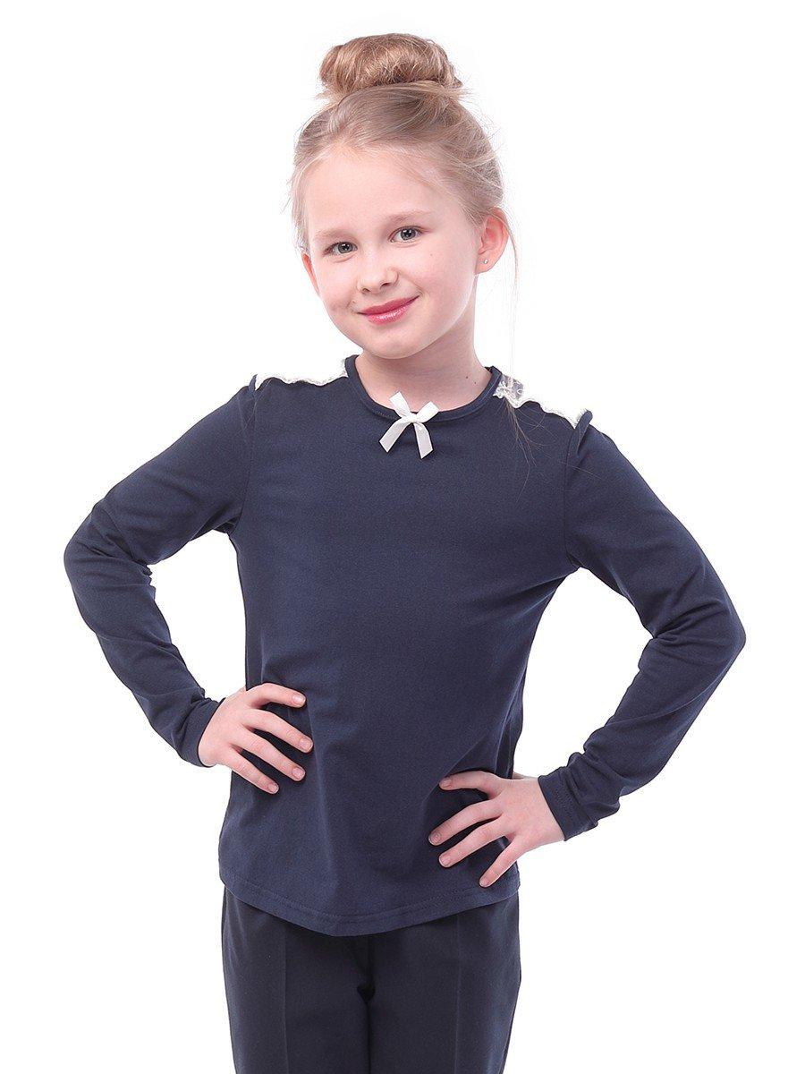 Блуза для девочки с кружевной тесьмой и декоративным бантиком, цвет: темно-синий