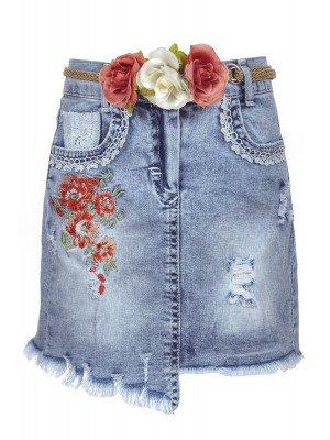 Юбка джинсовая для девочки, декор-пояс с цветами