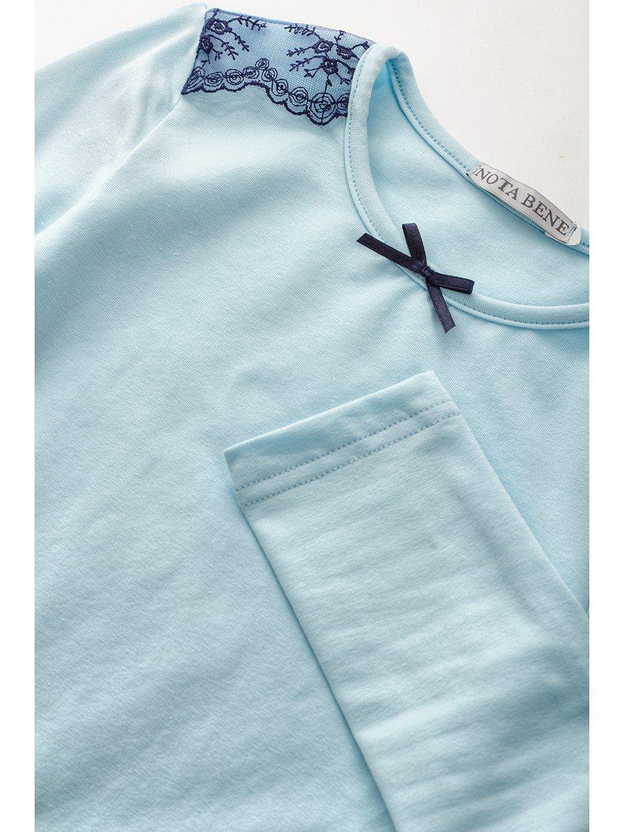 Блуза для девочки с кружевной тесьмой и декоративным бантиком, цвет: голубой