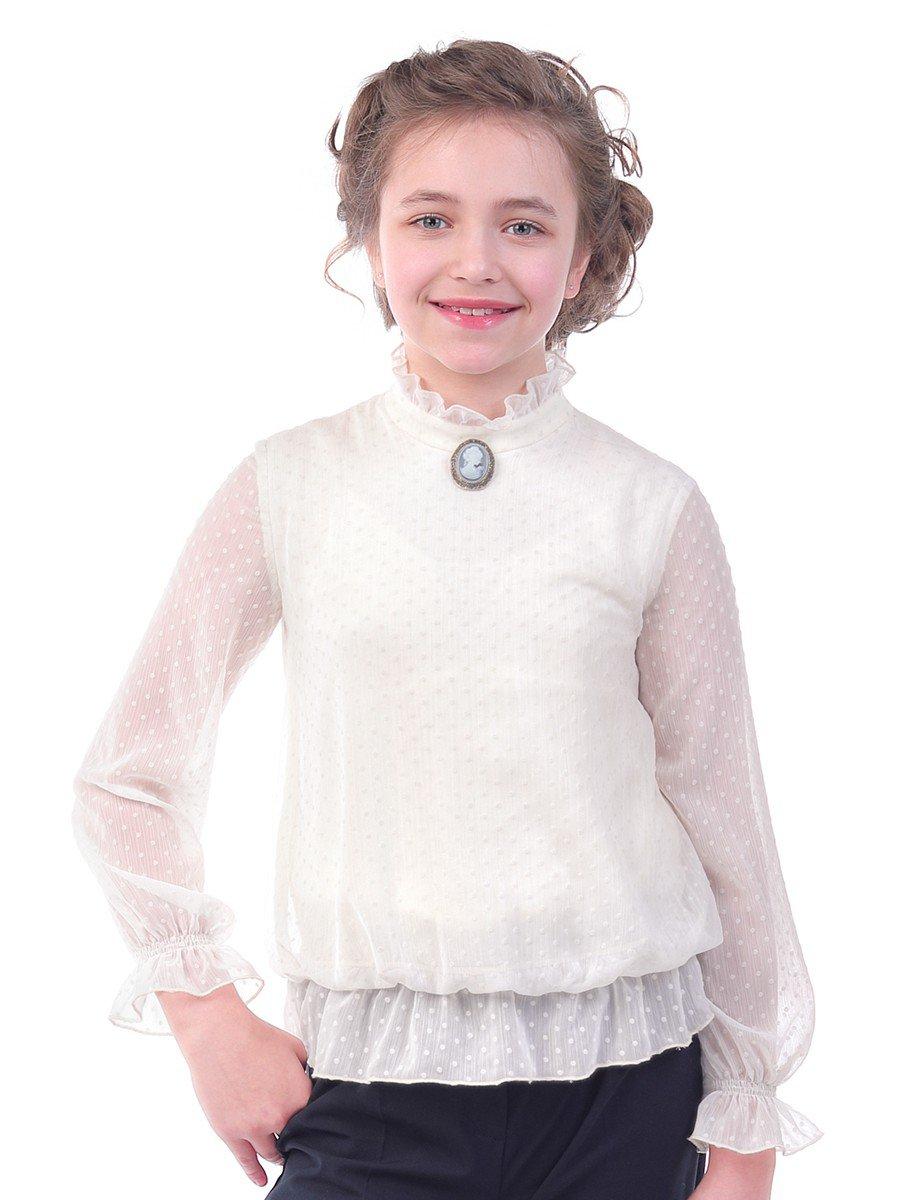 Блуза нарядная для девочек (полных), цвет: молочный
