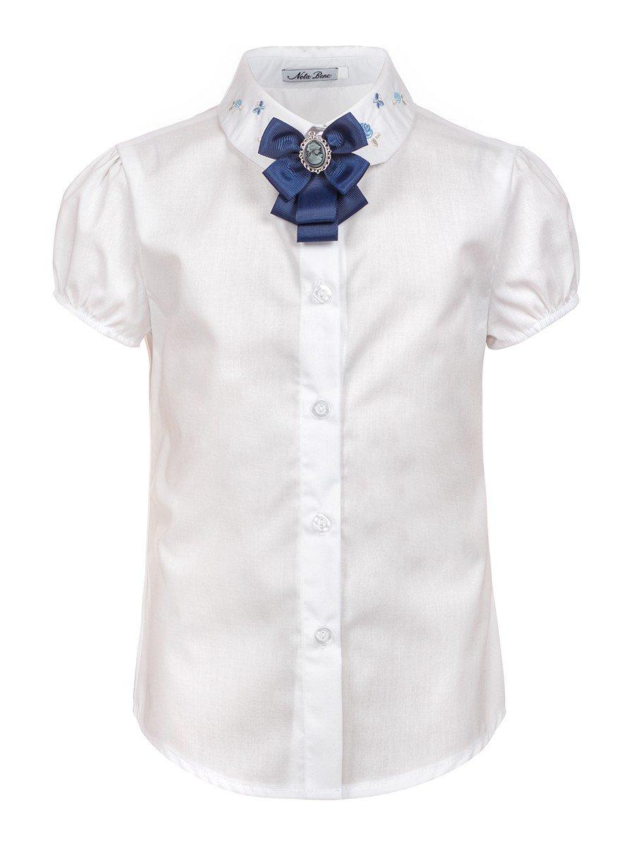 Блузка для девочки с вышивкой, цвет: белый
