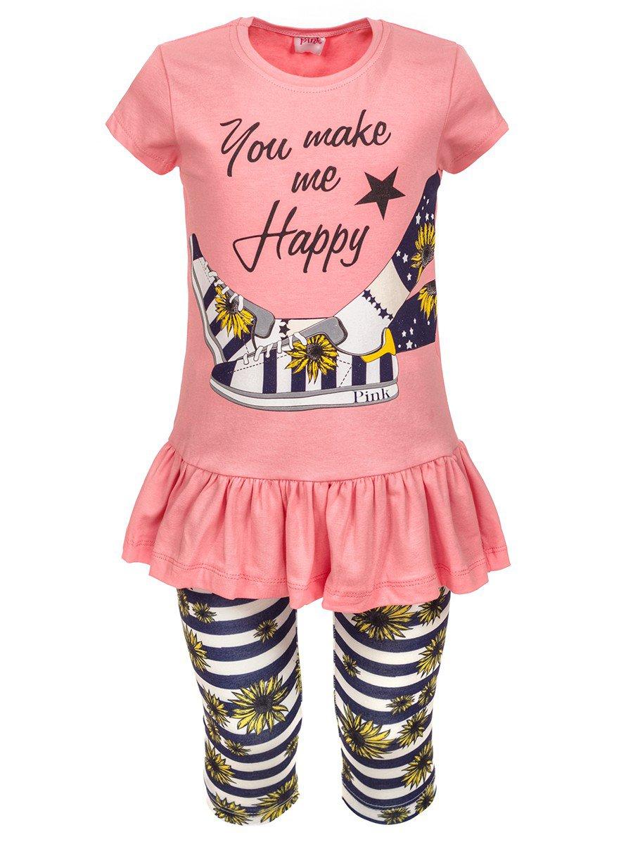 Комплект для девочки: туника и лосины, цвет: пудра